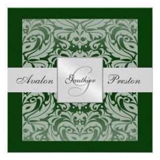 Invitation argentée et verte de frontière de damas