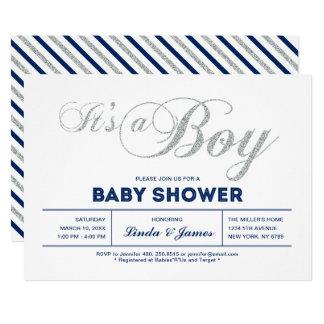 Invitation argentée moderne de baby shower de