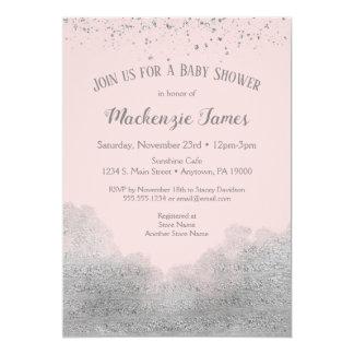 Invitation argentée rose de baby shower de