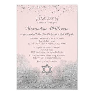 Invitation argentée rose de bat mitzvah
