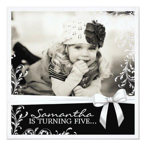 Invitation assez rose et noire de fête carton d'invitation  13,33 cm