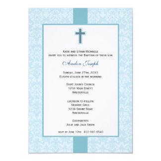Invitation baptismale de damassé turquoise