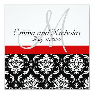 Invitation blanc noir rouge de mariage damassé de