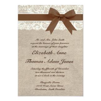 Invitation blanche Brown de mariage de dentelle et