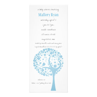 Invitation bleu-clair de baby shower d arbre fleur
