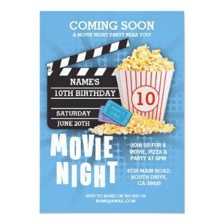 Invitation bleu de fête d'anniversaire de cinéma