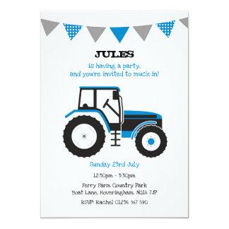 Invitation bleu de fête d'anniversaire de tracteur