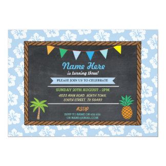 Invitation bleu tropical de Tiki de partie