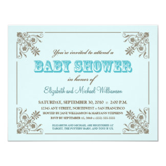 Invitation bleue de baby shower d'Aqua vintage