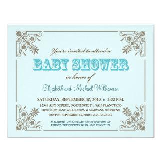 Invitation bleue de baby shower d'Aqua vintage