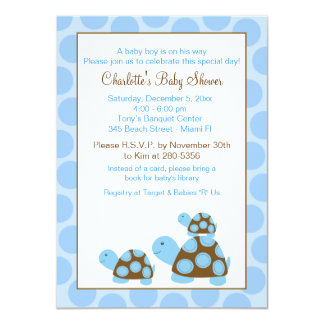 Invitation bleue de baby shower de garçon de carton d'invitation  11,43 cm x 15,87 cm