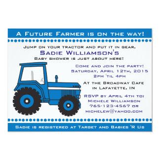 Invitation bleue de baby shower de tracteur