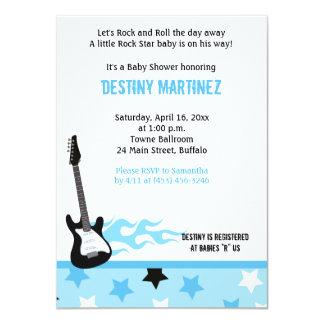 Invitation (bleue) de baby shower de vedette du carton d'invitation  11,43 cm x 15,87 cm