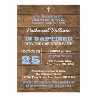 Invitation bleue de baptême de Barnwood