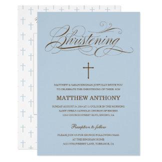 Invitation bleue de baptême de l'invitation   de