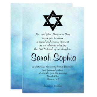 Invitation bleue de bat mitzvah, aquarelle, Teal