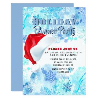 Invitation bleue de dîner de vacances de Père Noël