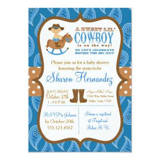 Invitation bleue de douche de bébé de cowboy