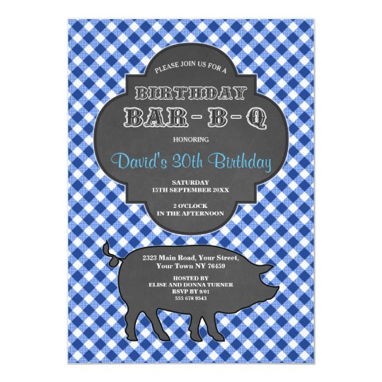 Invitation bleue de guingan de craie de BARBECUE