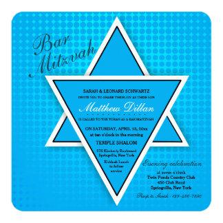 Invitation bleue de Mitzvah de barre