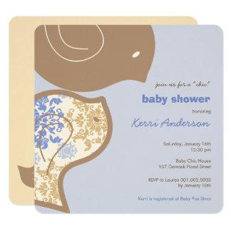 Invitation bleue de partie de baby shower de