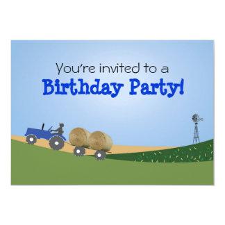 Invitation bleue de partie de tracteur