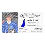 Invitation bleue de photo de fête de remise des di cartes de vœux avec photo