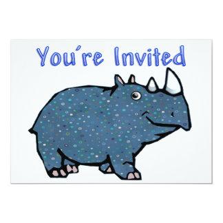 Invitation bleue de rhinocéros de calicot