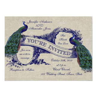 Invitation bleue de toile de paons de mariage