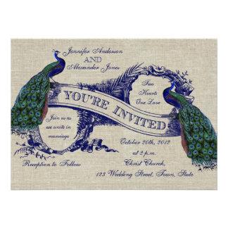 Invitation bleue de toile de paons de mariage rust