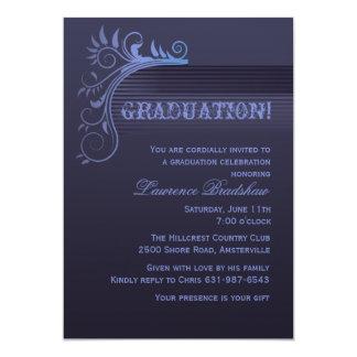 Invitation bleue d'obtention du diplôme d'horizon