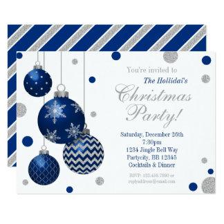 Invitation bleue et argentée de fête de Noël de