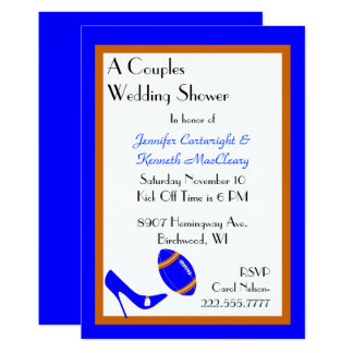 Invitation bleue et orange de wedding shower du