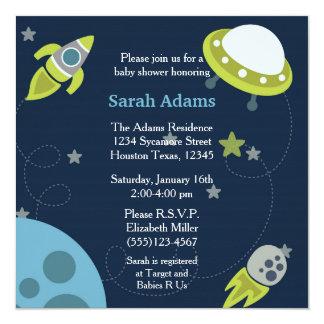 Invitation bleue et verte de baby shower de