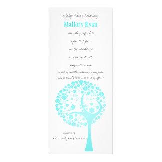 Invitation bleue lumineuse de baby shower d arbre