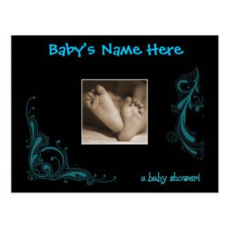 Invitation bleue majestueuse de douche de bébé