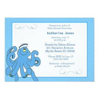 Invitation bleue mignonne de baby shower de poulpe