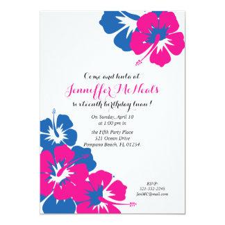 invitation bleue rose de luau de SWEET SIXTEEN