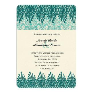 Invitation bleue turquoise de Boho mariage damassé