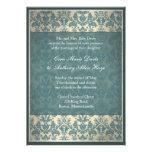 Invitation bleue vintage de mariage damassé