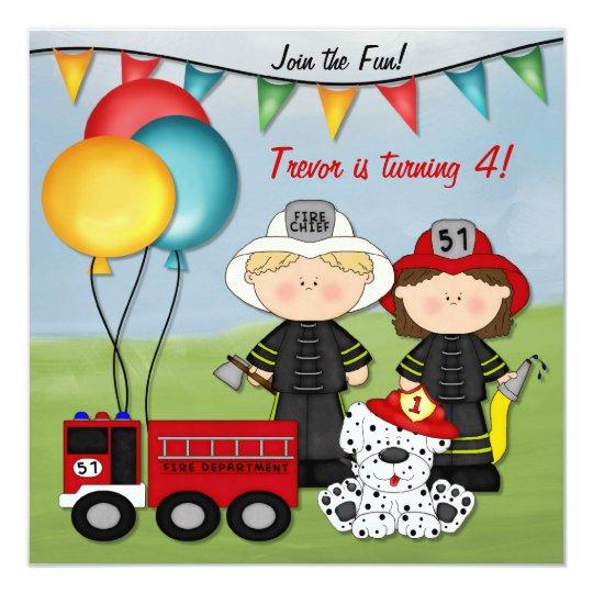 Invitation Camion de pompiers et petit anniversaire de   Zazzle.fr