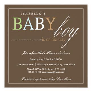 Invitation carré de baby shower du bébé |