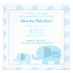 Invitation carrée de baby shower d'éléphants bleus