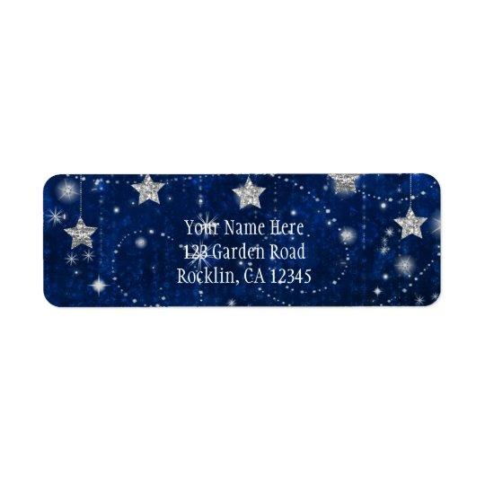 Invitation céleste étoilée bleue et argentée étiquette d'adresse retour