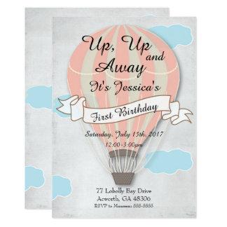 Invitation chaude d'anniversaire de ballon à air