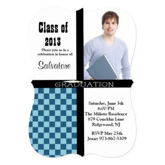 Invitation Checkered bleue d'obtention du diplôme