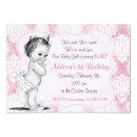 Invitation chic d'anniversaire de damassé de bébé