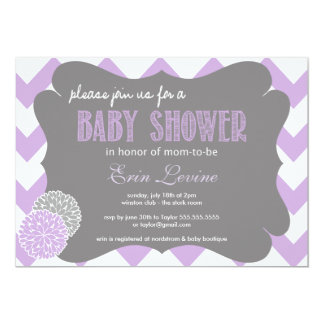 Invitation chic de baby shower de Chevron de