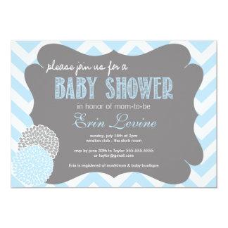 Invitation chic de baby shower de Chevron de bleus