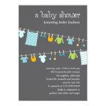 Invitation chic de baby shower de corde à linge